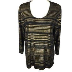 Cato Size L J/M Sportswear Hi-Lo Tunic Black Gold